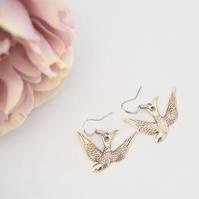 Antique Silver Bird earring Swooping Swallow Earring Gift Retro kitsch