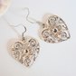 Antique Silver Heart Earrings Careered Patterned Earring Wedding Gift