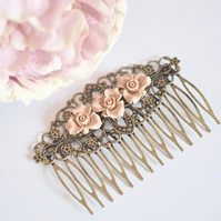 Bridal hair Comb Antique Bronze Filigree Hair Comb Wedding Bridal