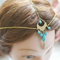 Simple Gold tone Head Chain Head Dress Hait ornament Bridal Wedding Festival