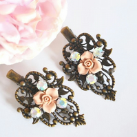 Vintage style Bronze Crocodile Hair clip Pink Flower Wedding Bridal Bohemian