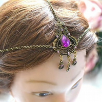 Simple bronze  tone Head Chain Head Dress Hair ornament Bridal Wedding Festival