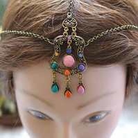 Simple Bronze Head Chain Head Dress Hair ornament Bridal Wedding Festival