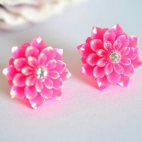 Beautiful Dahlia Crystal Stud  Earring Bohemian Summer wedding Boho Bohemian