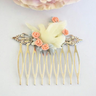 Bridal Hair Comb Vintage Antique Style Filigree Silver Comb Dove And Pearl Hair