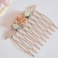 Bridal Hair Comb Vintage Antique Style Filigree Silver Comb Rose And Pearl Hair