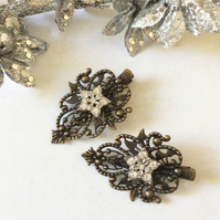 Vintage style Bronze Crocodile Hair clip Crystal  Flower Wedding Bridal Bohemian