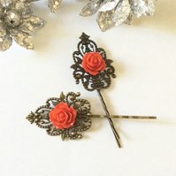 Vintage style Bronze Hair clip Red Flower Wedding Bridal Bohemian Boho