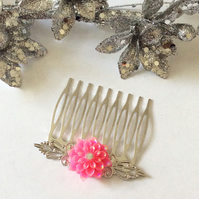 Bridal Hair Comb Vintage Antique Style Filigree Silver Comb Dahlia Hair