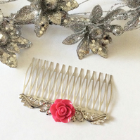 Bridal Hair Comb Vintage Antique Style Filigree Silver Comb Rose Hair