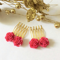 Bridal Hair Comb Vintage Antique Style Filigree Gold Comb Rose Hair