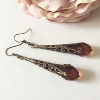 Pretty Bronze 1920s  style Beaded Earring Romatic jewellery
