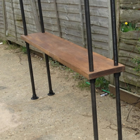 Vintage Gas Pipe Free Standing Shelf - Bookcase Unit with Chunky Rustic Wood