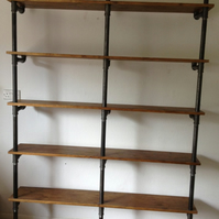 Vintage Industrial Gas Pipe Pole Retro Shelves Bookcase Old Wood Oak finish