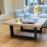 Modern Chic Oak Coffee Table with Vintage Mild Steel Frame