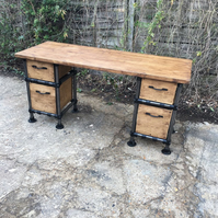 Vintage Industrial Steampunk Gas Pipe desk with Drawers Home Office