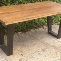 Vintage Industrial Chunky Metal Angled Frame Steampunk Retro Dining Table Rustic