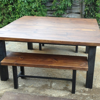 Vintage Industrial Chic Rustic Dining Table and Bench Set