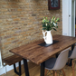 Vintage Industrial Chic Metal Angle Frame Table Bench Set with Rustic Warm Oak