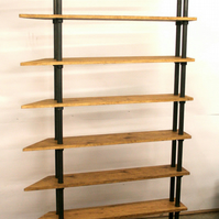 Retro Industrial Chic Vintage Freestanding Gas Pipe Shelves with Angle Edge