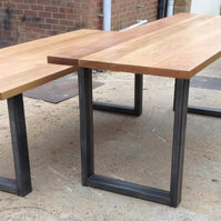 Vintage Industrial Modern Contemporary Steel & Oak Dining Table