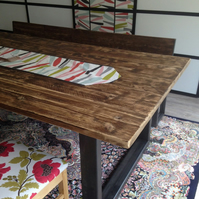 Reclaimed table and bench set with scaffold top and chunky metal frame