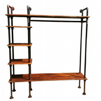 Retro Clothes Rail Vintage Industrial with Gas Pipes Old Rustic Wood Wardrobe