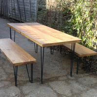 Vintage Industrial Hairpin Pin Style Legs Dining Table and Bench Set