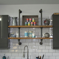 Reclaimed Rustic Vintage Industrial Wall Mounted Gas Pipe Shelf Unit Bookcase