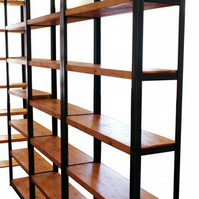 Vintage Iindustrial Mild Steel and Rustic Timber Shelving Unit Oak Finish