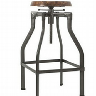 Turner Vintage Solid Oak & Metal Adjustable Bar Stool - 35 Inch