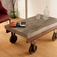 Pallet Style Coffee Table with Reclaimed Castor and Concrete Top Vintage Retro