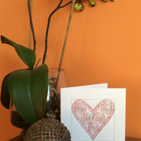 Pink 'Viola' Heart Art Card.