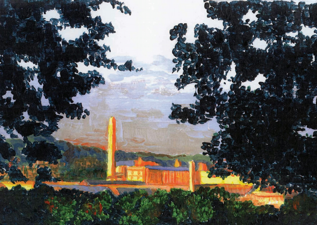 'Morning Light on Salts Mill' blank card.