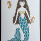 Coral Mermaid blank Card.