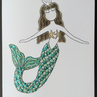 Pearl Mermaid Blank Card.