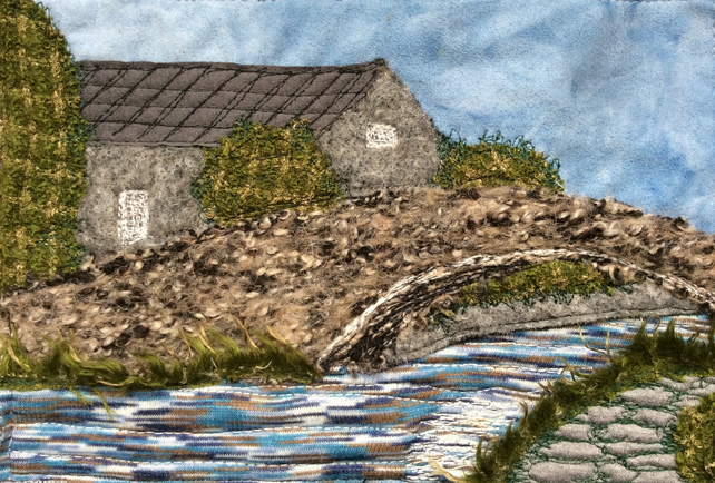 Up cycled fabric textile landscape of Junction Bridge, Shipley Canal.