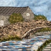 Embroidered landscape of Yorkshire bridge, mill and canal.