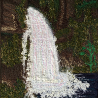 Upcycled fabric, Free motion embroidered textile waterfall landscape.