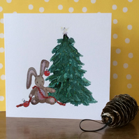 Bauble Bunny Christmas card.