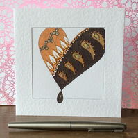 Gorgeously patterned gold heart Art card.