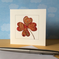 Red flower printed blank Art card