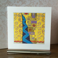 Embellished patterned printed art Card.