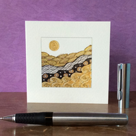 Golden landscape blank card.