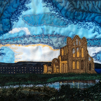 Up cycled textile landscape of Whitby Abbey.