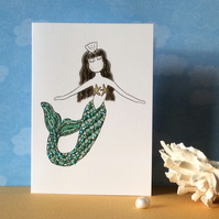Mermaid Blank Card.
