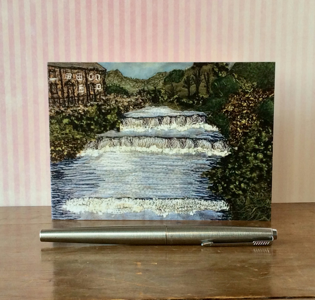 Embroidered Yorkshire Landscape with waterfall printed Card.