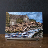 Embroidered Industrial Landscape Blank Card.