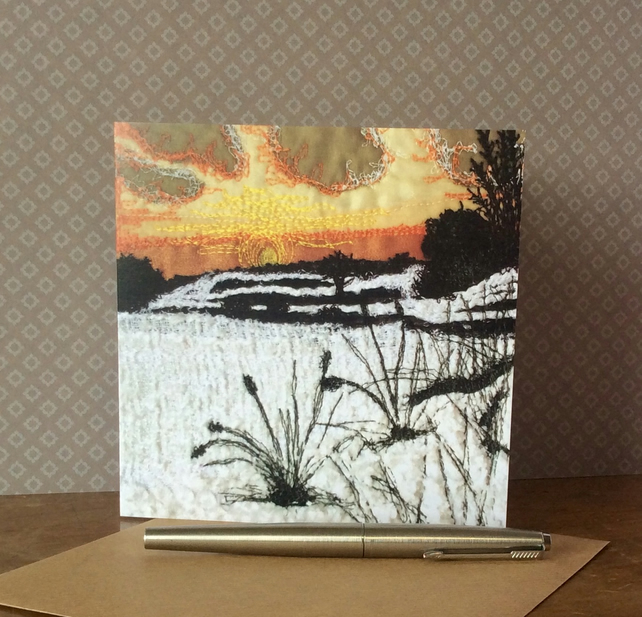 Embroidered sunset snow scene blank Card.