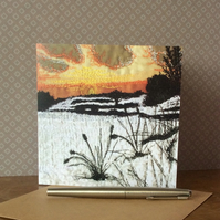 Silhouette Sunset Card.